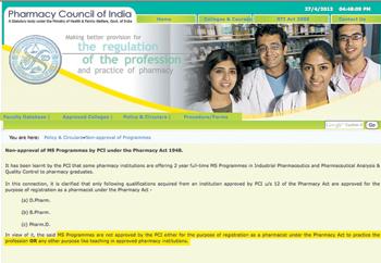 Dear Pharmacy Council, is MS Pharmacy valid?