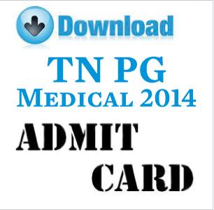 TN PG Medical Entrance 2014 Admit Card