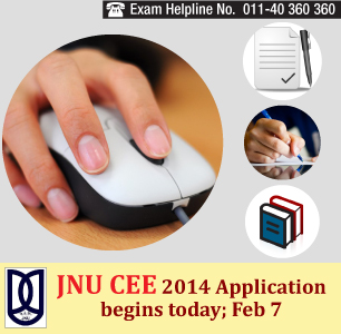 JNU Entrance Exam 2014 Online Application Form Begins from today, Feb 7, 2014