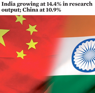 India growing at 14.4% in research output; China at 10.9%