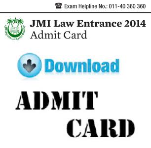 JMI Law Entrance Exam 2014 Admit Card