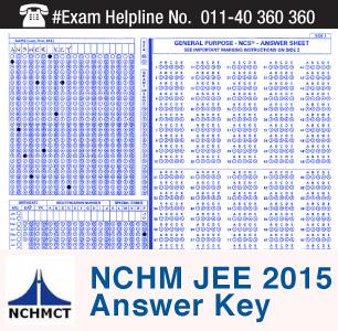 NCHM JEE 2015 Answer Key