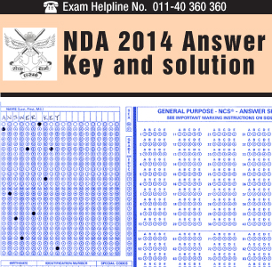 NDA 2014 Answer Key and Solutions