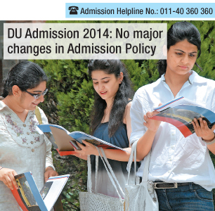 DU Admissions 2014: No major changes in the policy