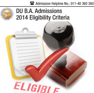 Delhi University Admission Eligibility 2014
