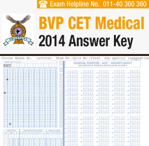 BVP CET Medical 2014 Answer Key