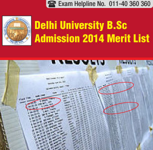 Delhi University Admission 2014 B.Sc merit list