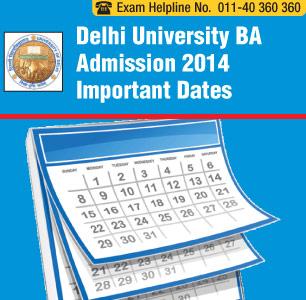 Delhi University BA Admission Dates 2014