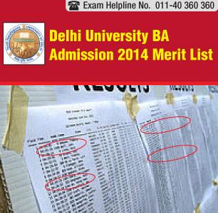 Delhi University Admission 2014 BA merit list