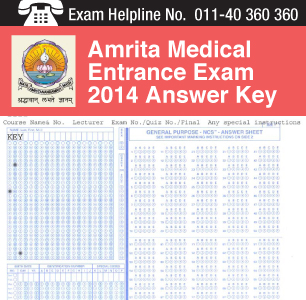Amrita Medical Entrance Exam 2014 Answer Key