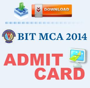 BIT MCA 2014 Admit Card