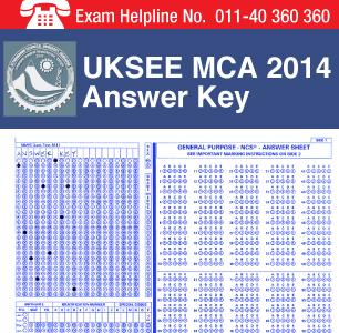 UKSEE MCA 2014 Answer Key