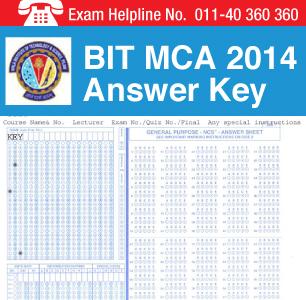 BIT MCA 2014 Answer Key