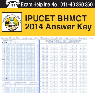 IPU CET BHMCT 2014 Answer Key