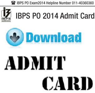 IBPS PO 2014 Admit Card