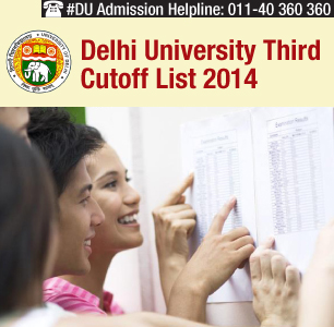 Delhi University Third Cutoff List 2014