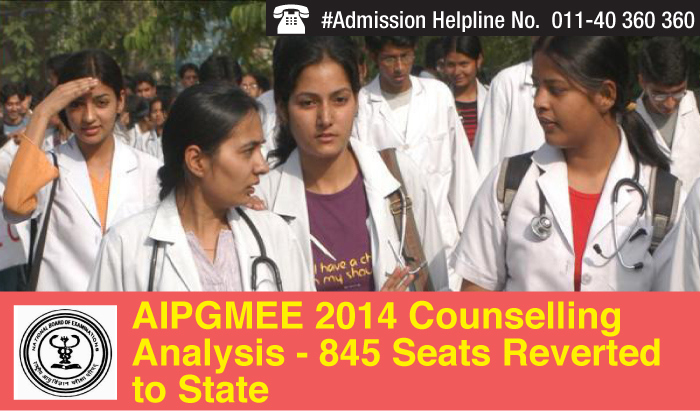 AIPGMEE 2014 Counselling Analysis - 845 Seats Reverted to State