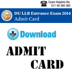DU LLB 2015 Admit Card