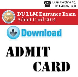 DU LLM Entrance Exam 2015 Admit Card
