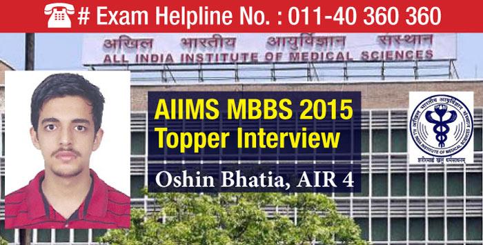 AIIMS MBBS 2015 Topper Oshin Bhatia - All India Rank 4