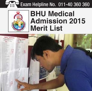 BHU Medical Admission 2015 Merit List