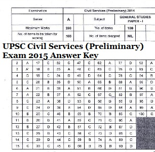 UPSC Civil Services Prelims Exam 2015 Answer Key (A,B,C,D)