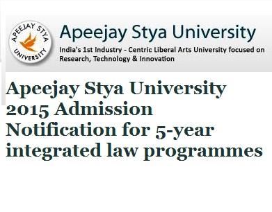 Apeejay Law School 2015 Admission Notification