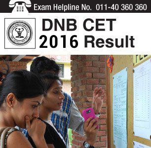 DNB CET 2016 Result