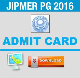 JIPMER PG 2016 Admit Card