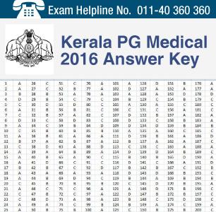 Kerala PG Medical 2016 Answer Key