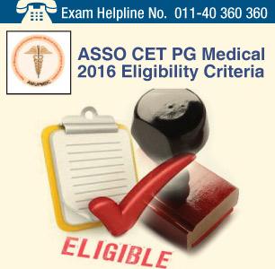 ASSO CET PG Medical 2016 Eligibility Criteria