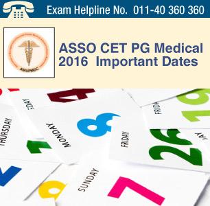 ASSO CET PG Medical 2016 Important Dates