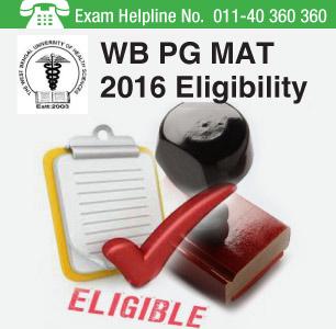 WB PG MAT 2016 Eligibility Criteria