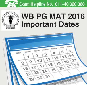 WB PG MAT 2016 Important Dates