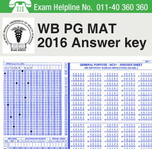 WB PG MAT 2016 Answer Key