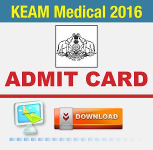 KEAM Medical 2016 Admit Card