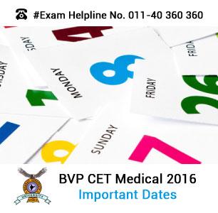 BVP CET Medical 2016 Important Dates