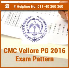 CMC Vellore PG 2016 Exam Pattern