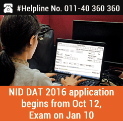 NID DAT 2016 application begins from Oct 12; exam on Jan 10