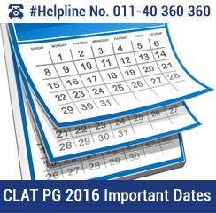 CLAT PG 2016 Important Dates