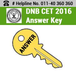 DNB CET 2016 Answer Key