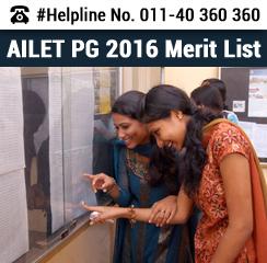 AILET PG 2016 Merit List