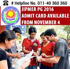 JIPMER PG 2016 Admit Card Available from November 4