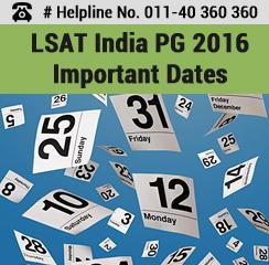 LSAT India PG 2016 Important Dates