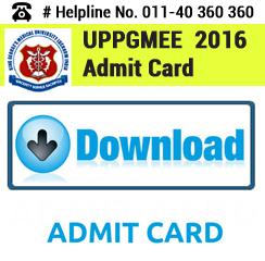 UPPGMEE 2016 Admit Card