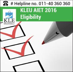 KLEU AIET 2016 Eligibility
