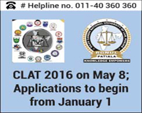 CLAT 2016 on May 8; Applications to begin from January 1