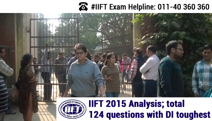 IIFT 2015 Analysis; total 124 questions with DI toughest
