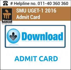 SMU UGET 1 2016 Admit card