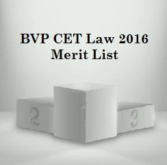 BVP CET Law 2016 Merit List